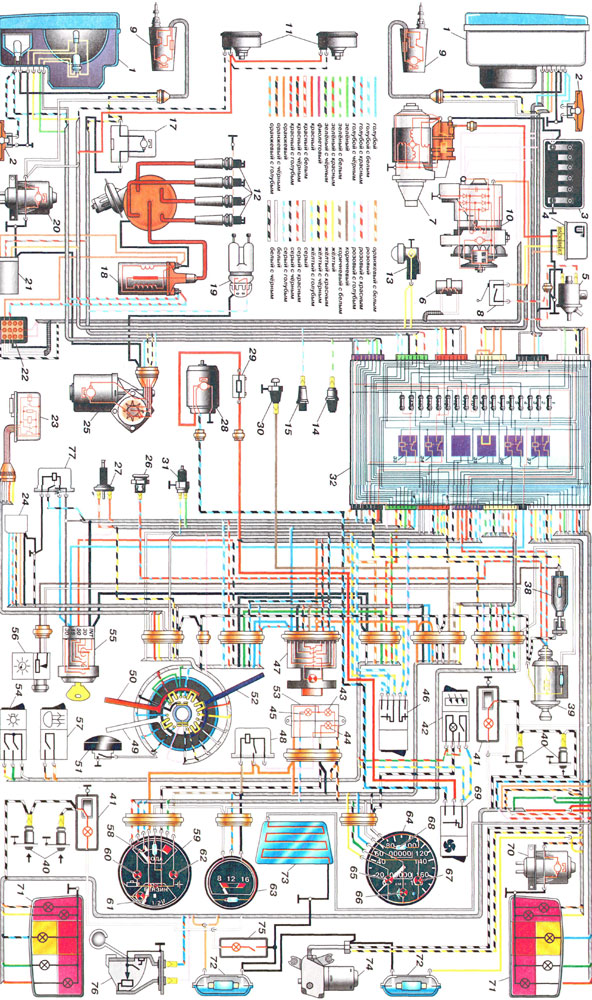 Электропроводка.  Схема электрооборудования ВАЗ 2105; Схема электропроводки ВАЗ-2101Переднеприводные автомобили ВАЗ...